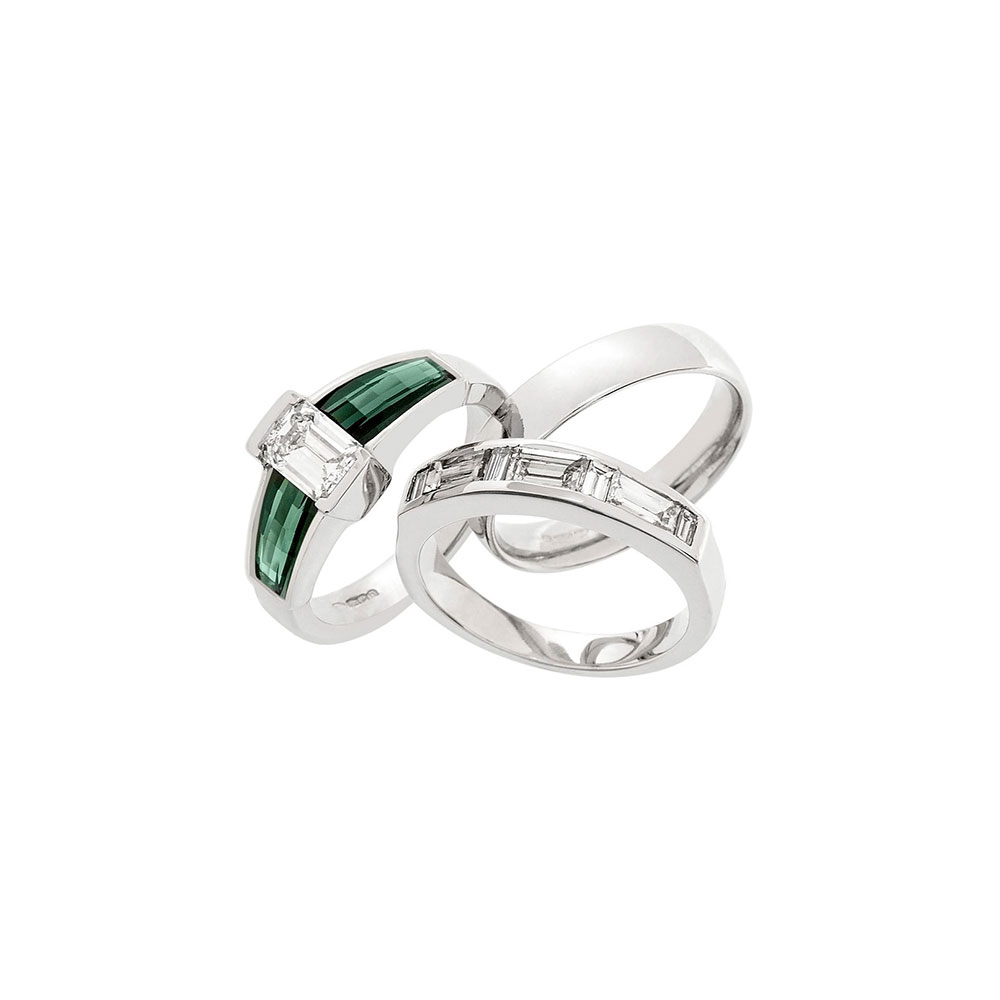 Platinum Emerald Cut Diamond and Green Tourmaline rings
