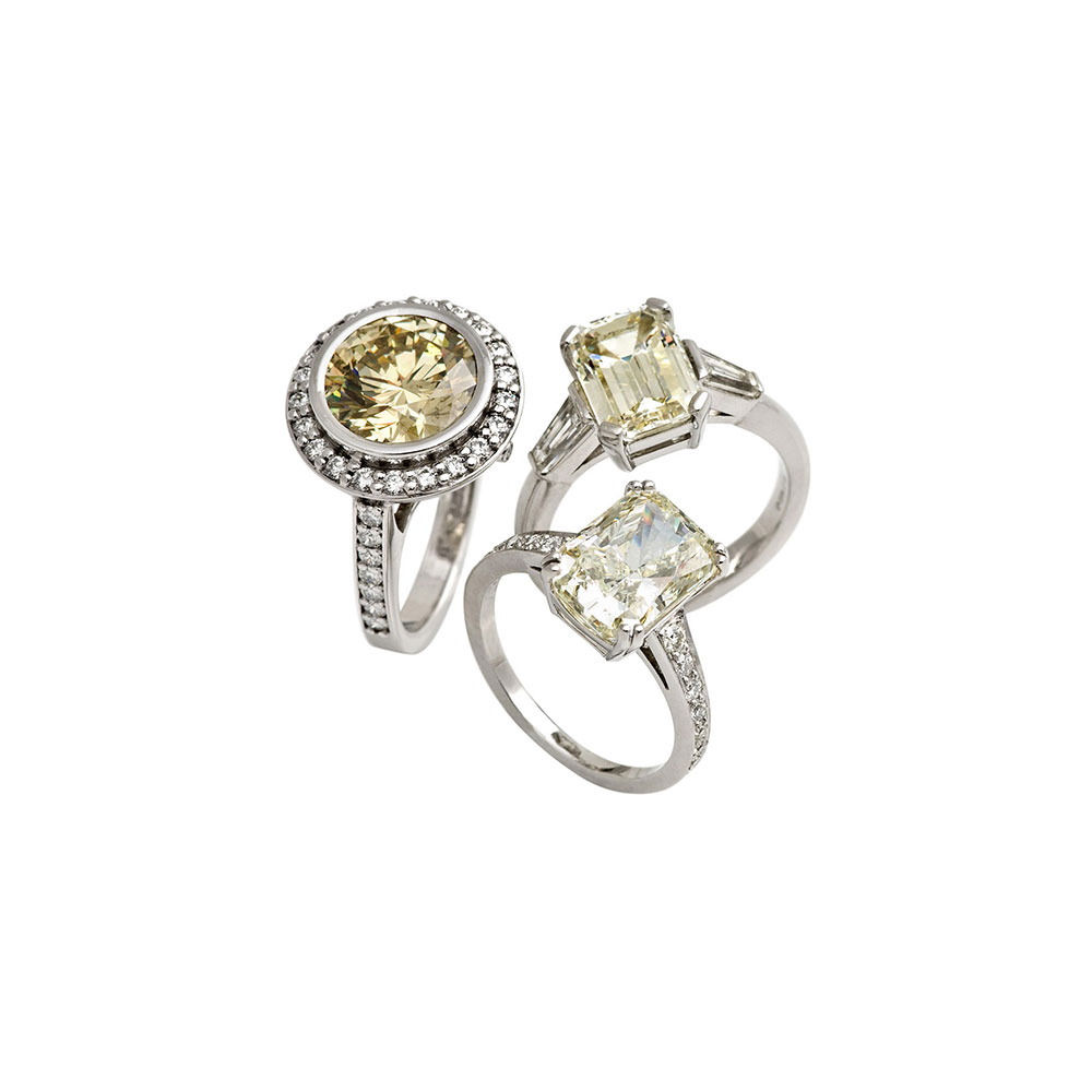 Yellow and White Diamond Engagement Ring Collection