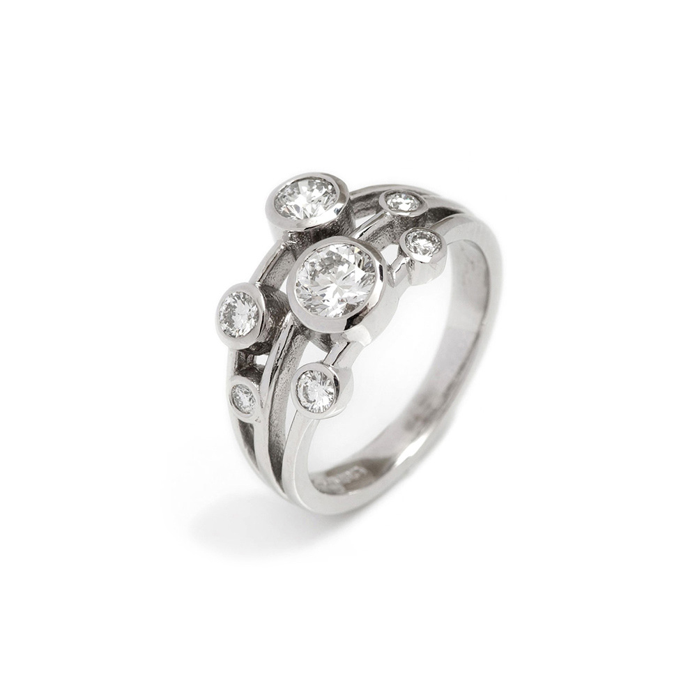 18ct White Gold Diamond Spirit Ring