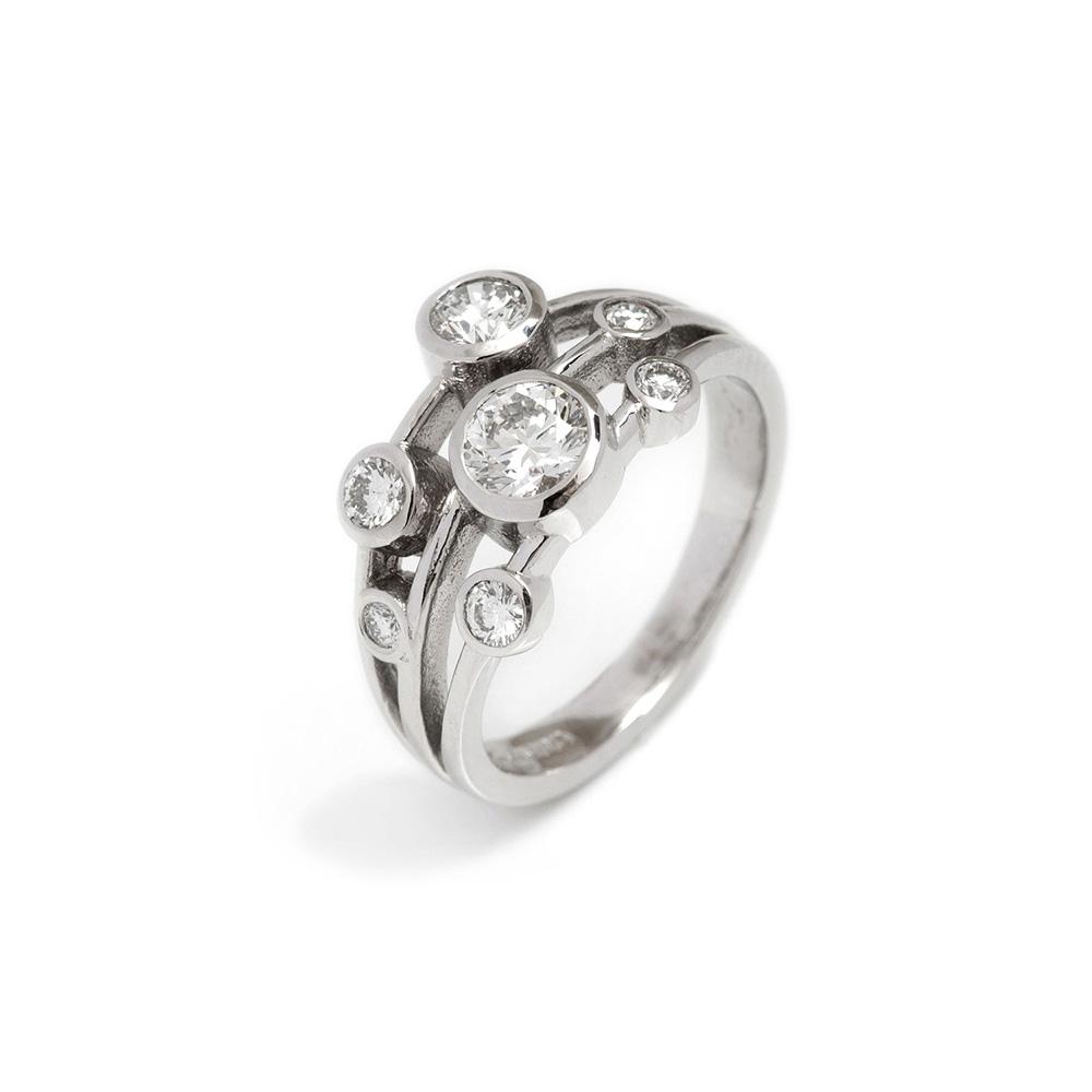 18ct White Gold Diamond Spirit Ring