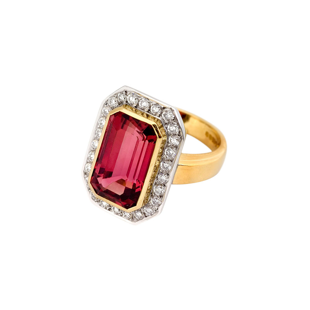 18ct Gold Diamond Rubelite Cocktail Ring