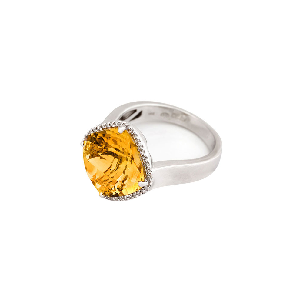 18ct White Gold Diamond Citrine Ring