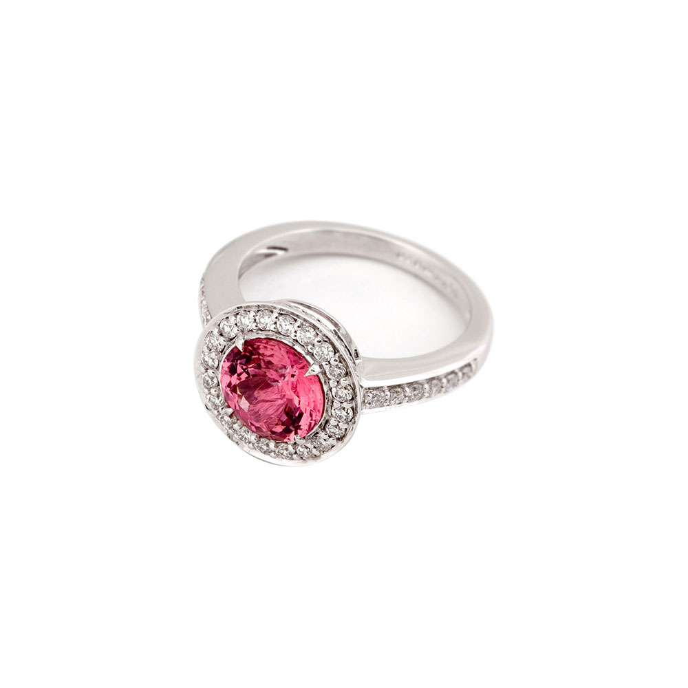 18ct White Gold Diamond Pink Sapphire Ring