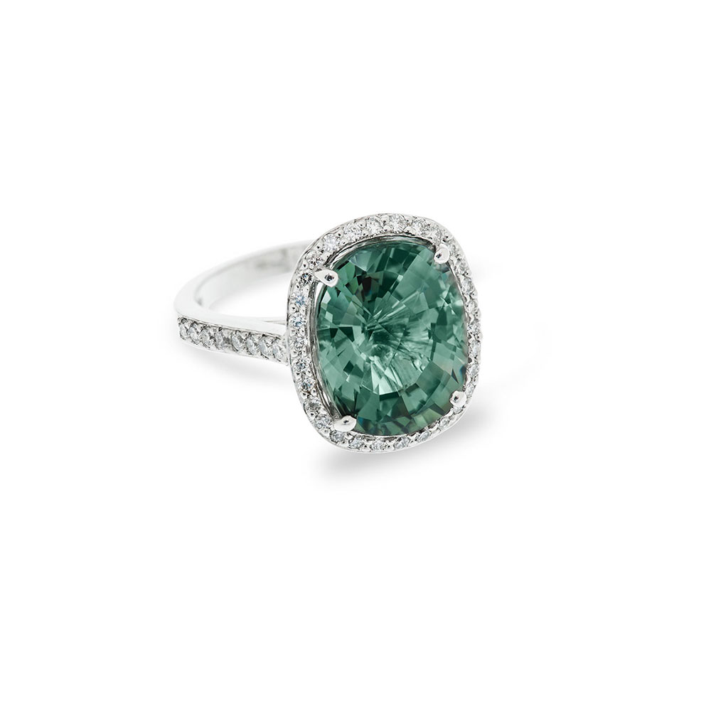 18ct White Gold Diamond Green Sapphire Ring