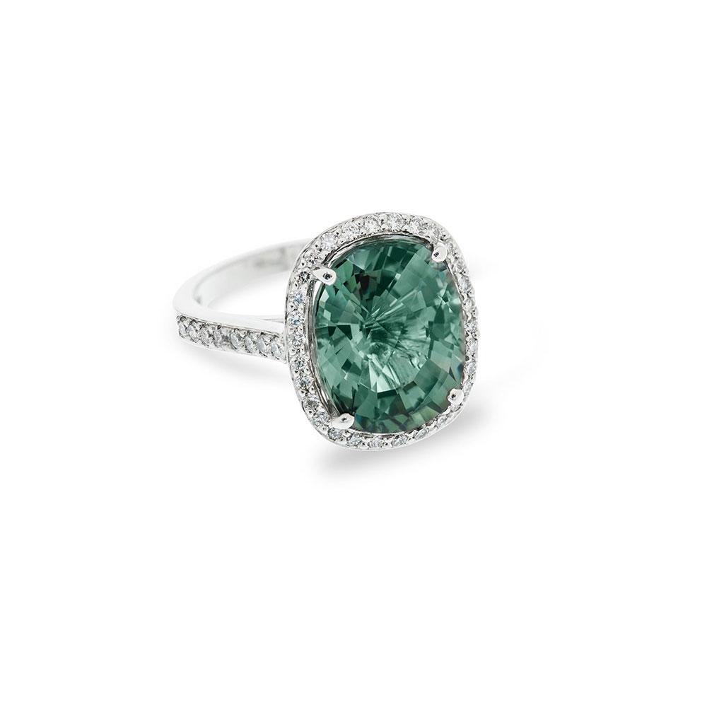 18ct White Gold Diamond Green Sapphire Ring