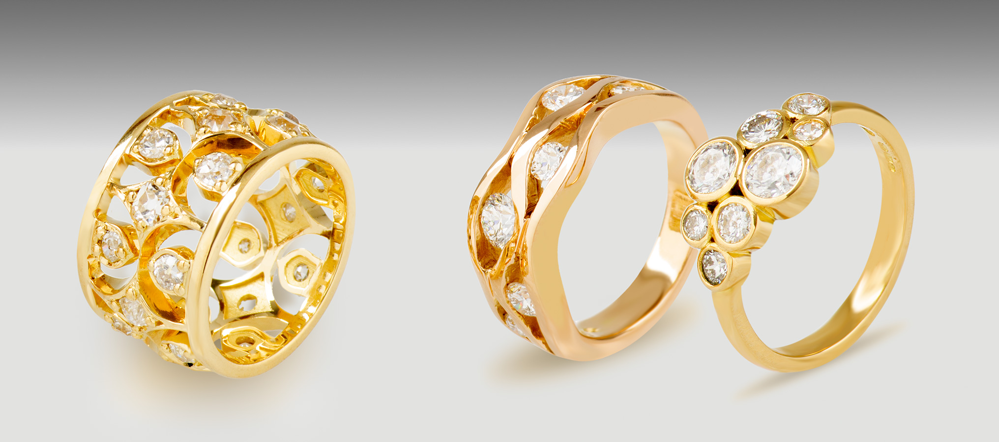 18ct Yellow Gold White Diamond Dress Rings