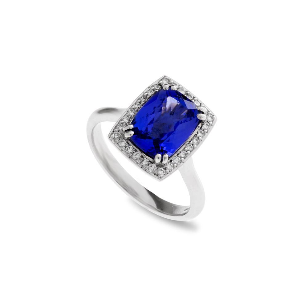 Platinum Diamond Blue Sapphire Ring