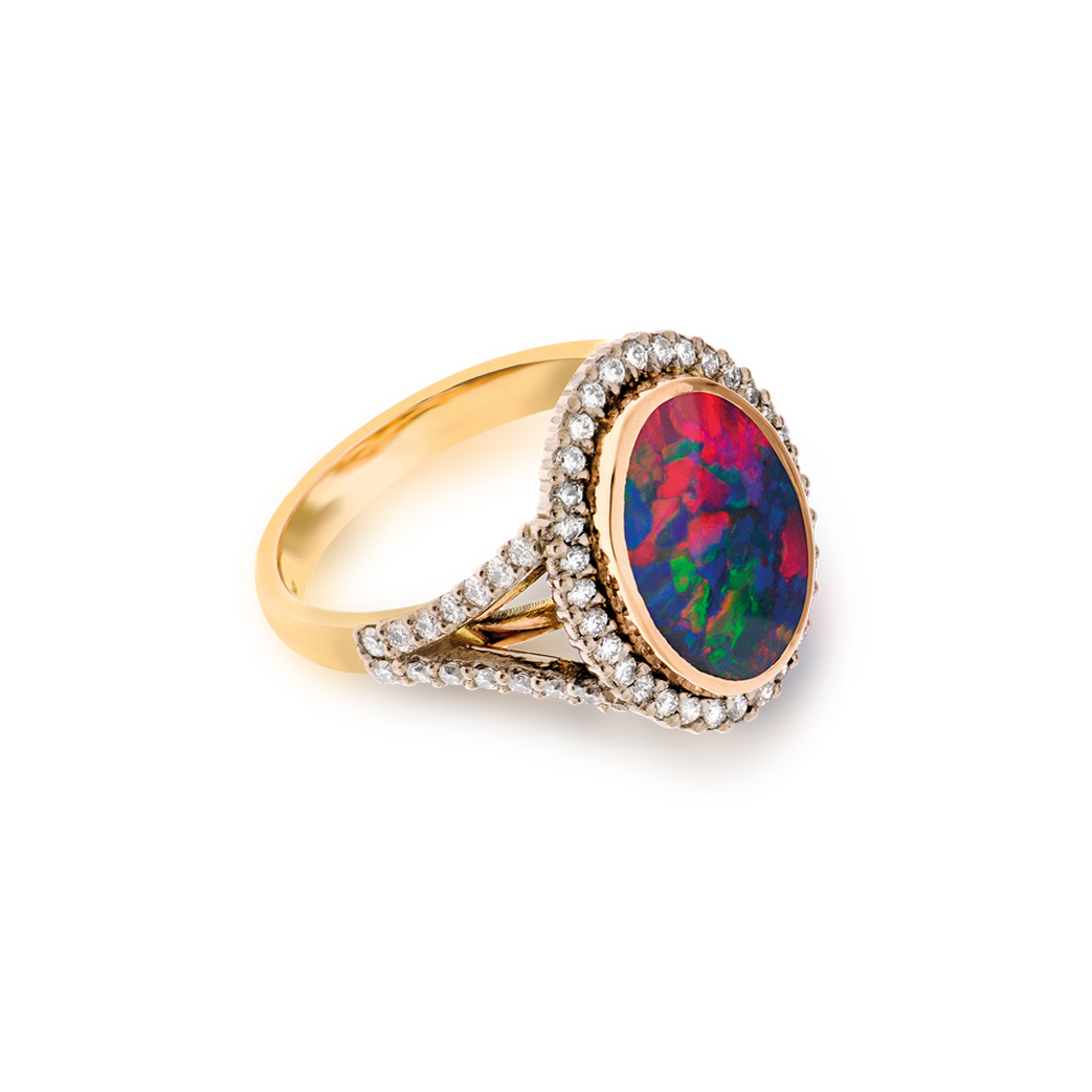 Gold Diamond Opal Ring