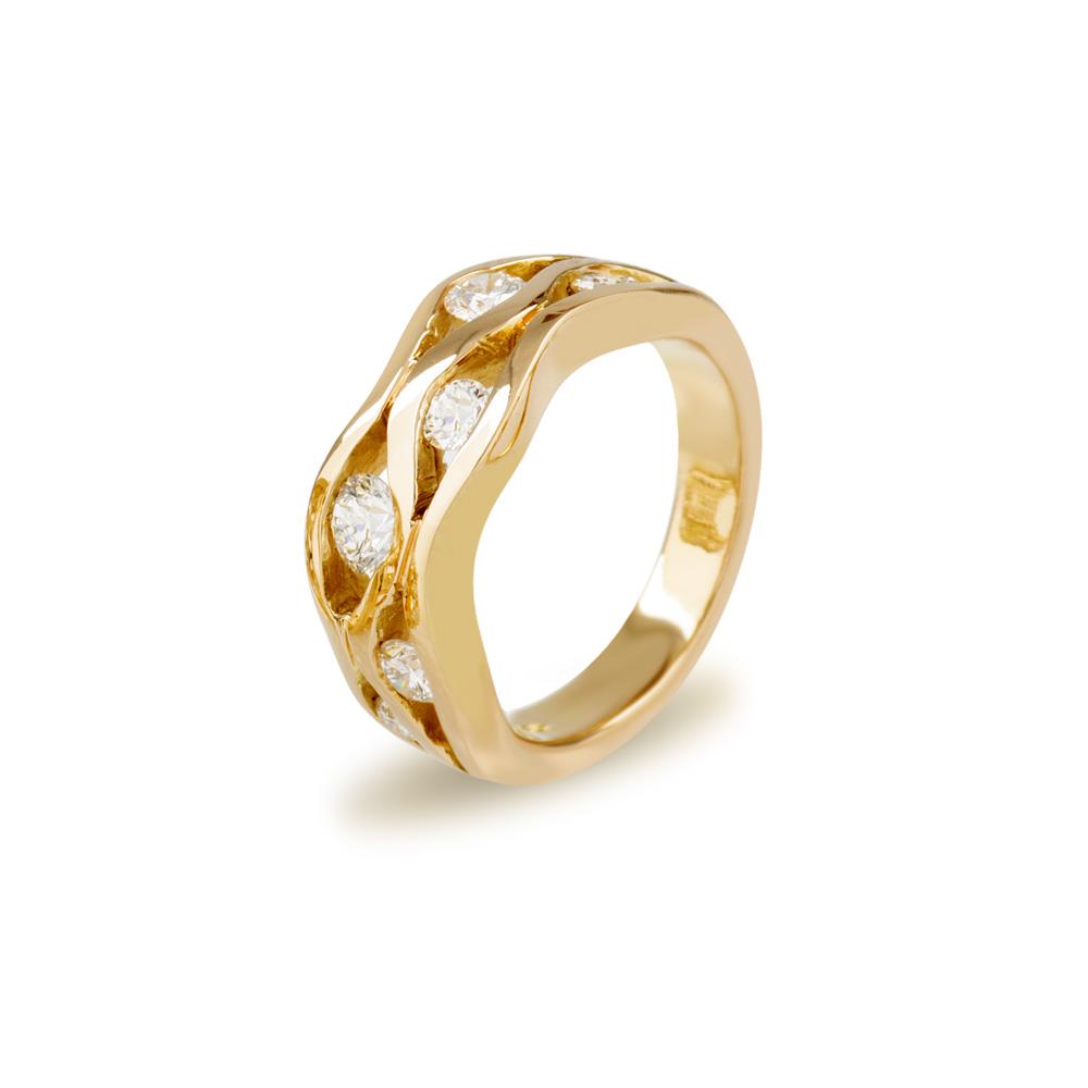 18ct Yellow Gold Diamond Wave Ring
