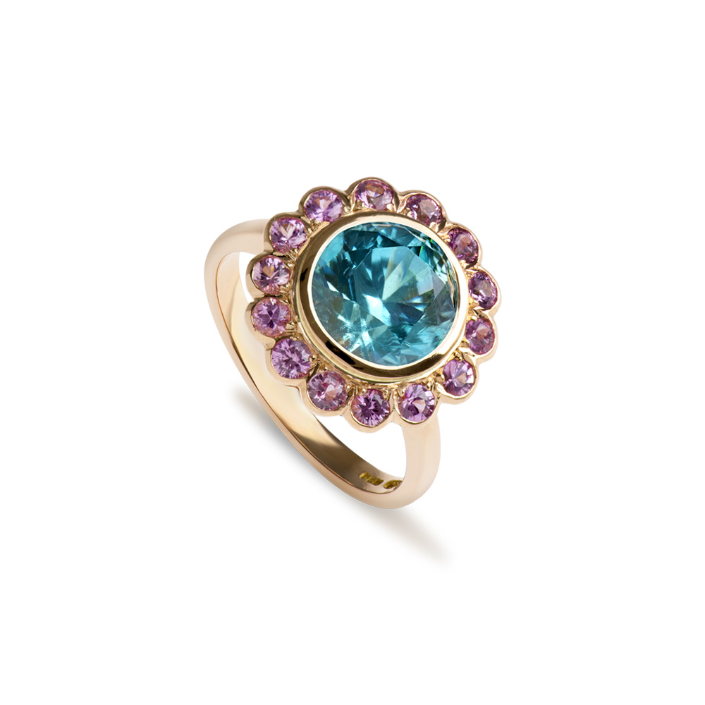 18ct Rose Gold Blue Zircon Pink Sapphire Ring