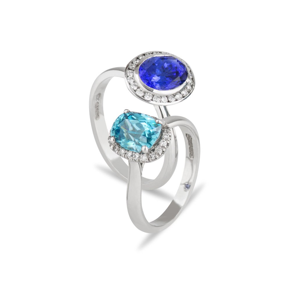 18ct White Gold Diamond Tanzanite Blue Zircon Rings