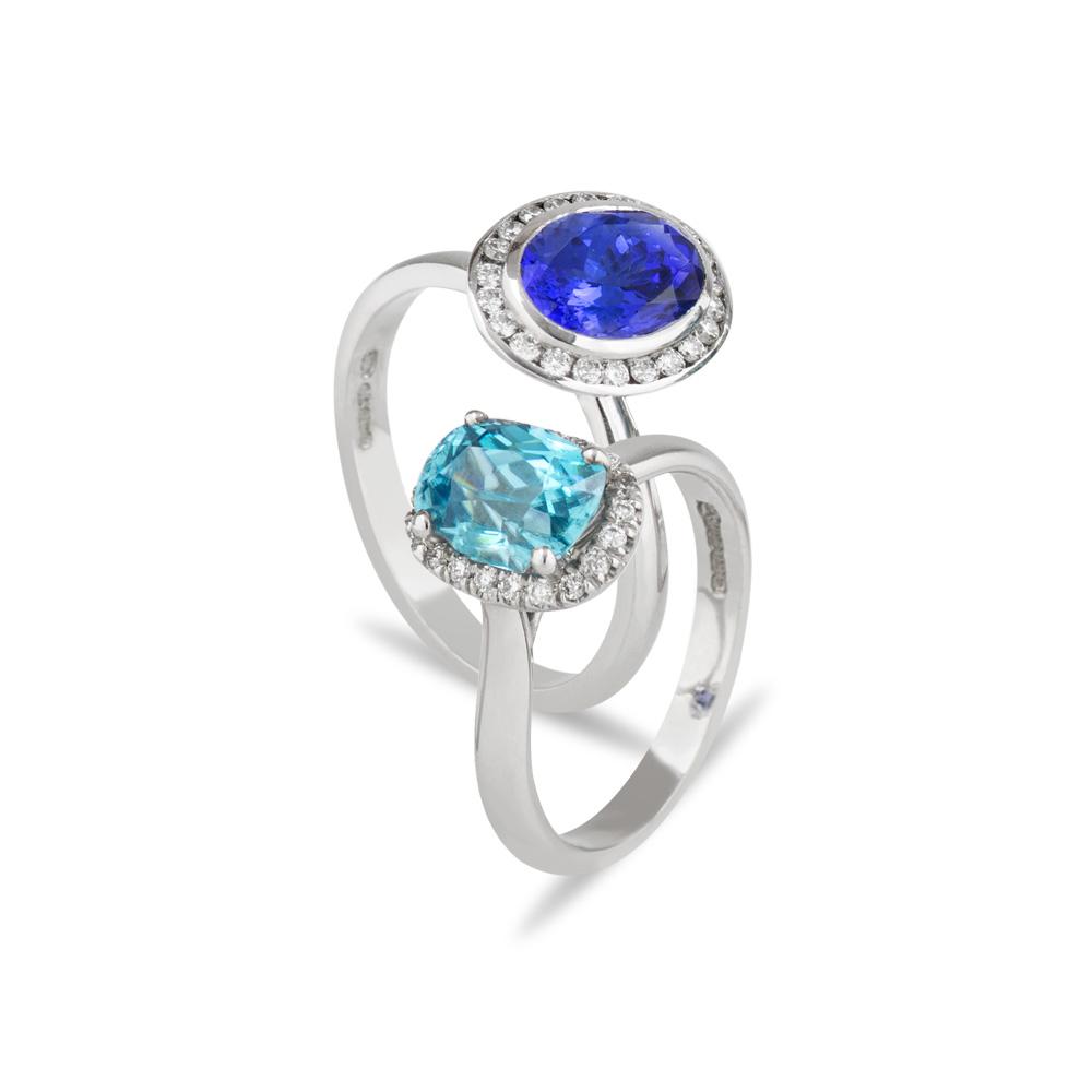 18ct White Gold Diamond Tanzanite Blue Zircon Rings